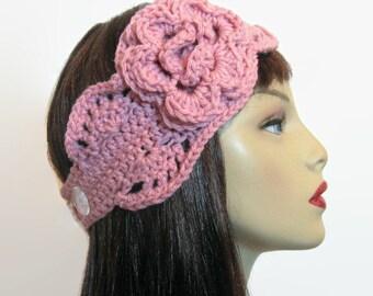 Crochet Headband with Flower Dusty Pink Headwrap Pink Head Band Pink knit Ear Warmer Crochet Earwarmer Pink Hair wrap Dusty Rose Earwarmer