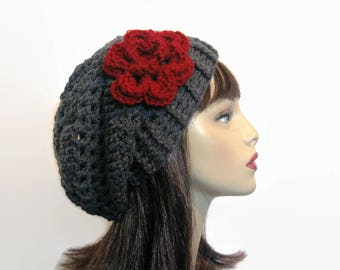 Crochet Slouchy Hat with Flower Charcoal Slouch Hat Gray Slouchy Beanie Dark Gray Cap Adult Cap Gray Beret Slouch Womens Hat gray knit Cap