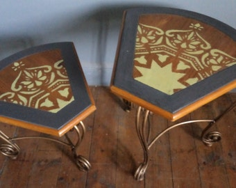 Bespoke retro nest of two wedge shaped tables with hand painted contemporary design.