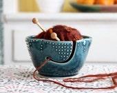 Yarn Bowl in Deep Sea Blue - Handmade Stoneware - Modern Home Decor - READY TO SHIP