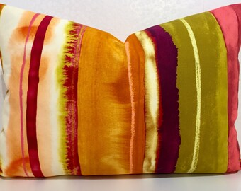 ORANGE cushion cover. Water mark design, fun colour mix, orange pink magenta, olive green pillow designer fabric, HARLEQUIN, striped cushion