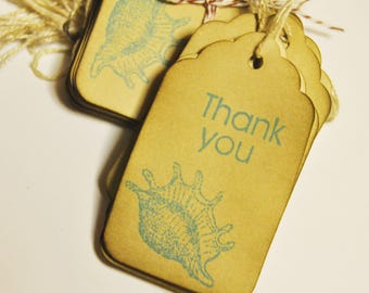 sea shells blue thank you favor gift tags. beach theme party. hand stamped. rustic vintage Inspired . medium size