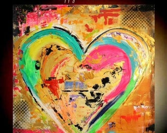 "SALE Original 36""gallery canvas Abstract HEART painting,Original comtemporary Art,lots of texture Ready to hang  by Nicolette Vaughan Horner"