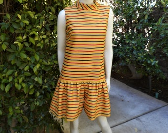 Vintage 1960's Patty Woodard Yellow Striped Romper - Size 8