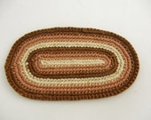 Miniature Dollhouse Crochet Rug Oval Brown Cream Traditional Country Cottage Flooring Decor MIni Doll House