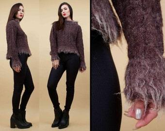 90s Vtg SHAGGY Werewolf Chunky KNIT Sweater Jumper / Avant Garde Furry Long Pile High Neck Boxy / Sm
