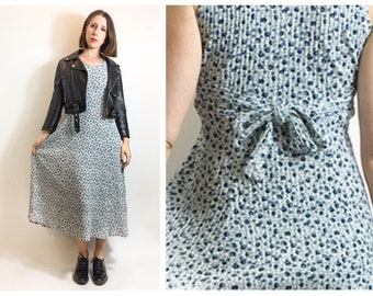 White Blue Ditsy Floral Mid Length Jersey Knit Tank Dress 90s Grunge Ties in Back Small