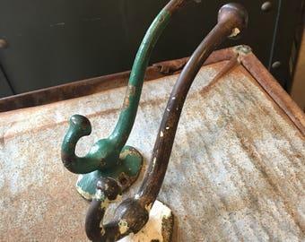 Two Antique Coat Rack Hooks Cast Iron w chippy paint