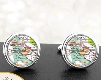 Maps Destination Cufflinks Palm Springs California Groomsmen Wedding Party Fathers Dads Men