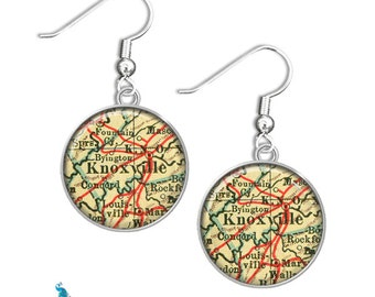 Antique Map Earrings Memphis TN - Select Any City or Town In State Of Tennessee On Map