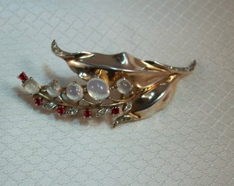 Alfred Philippe, Trifari Sterling Moonstone Sprig Brooch, Patent 140781