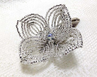 Silver Hair Clip French Beaded Floral Fascinator - Sparkle Collection