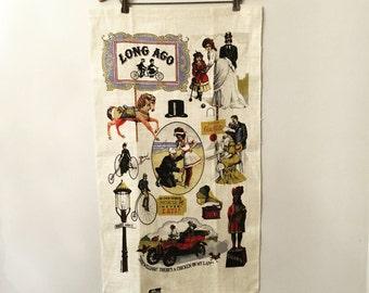 Vintage Long Ago Kay Dee Handprints 100% Pure Linen Extra Large Tea Towel - Vintage Linens - Vintage Dishcloth