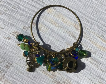 Chunky Beaded and Charm Adjustable Wire Bracelet-Antique Bronze