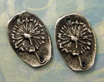 Dandelion Dreams - Hand Cast Rustic Pewter Artisan Jewelry Component Pair - Boho - Flower Charms