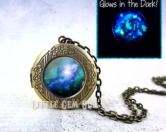 Glow in the Dark Galaxy Locket Necklace - Glowing Space Locket Astronomy Jewelry - 23 Images Available - Glowing Gem Necklace Space Necklace