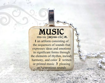 Music Necklace - Music Dictionary Definition Wood Tile Pendant Music Lover Jewelry Musical Quotes Choir Barbershop Pendant