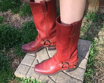 Vintage 70s Red Leather Frye Harness Buckle Boots Womens Size 6.5