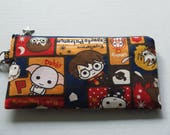 "Mask Zipper Pouch with Pocket Made with Japanese Cotton Oxford Fabric ""Harry Potter and Friends"" Navy/Red  Size: Medium"