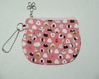 """Gathered Zipper Pouch / Card and Coin purse Made with Japanese Cotton Fabric """"Mini Musubi Panda"""""""