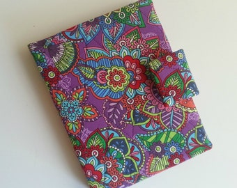 Kindle/Nook/iPad mini/Samsung Tab Cover/case quilted in a Purple/Multi paisley print