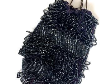 Beaded Flapper Purse Black with Fringe Tassel