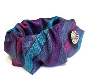Original Necktie Cuff, Striped Silk Neck Tie Wrist Bracelet, Upcycled Vintage Mens Tie Eco Chic Textile Necktie Art Jewelry itsyourcountry