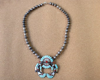Zuni Inlay NECKLACE / Vintage Sterling Bead Peyote Bird Necklace / Native American Turquoise Coral Jewelry