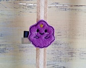 Felt Lumpy Space Princess on Alligator Clip - Adventure Time Clip - Embroidered Felt - Hair Clip