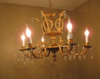 1920's Ornate Brass Crown Chandelier