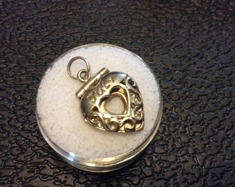 Sterling Silver, Charm, Heart, July, Hinged, Locket, Jump Ring, See Photos for Details