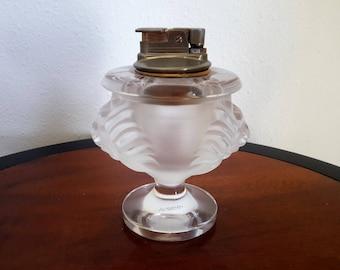 Lalique Double Lions Head Crystal Table Lighter Tete de Lion Gorgeous Vintage Smoking / Tobacciana