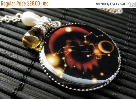 VALENTINE SALE Leo Zodiac Necklace. Sun Sign Charm Necklace in Amber. Handmade Jewelry.