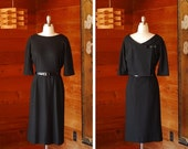 20% OFF FALL SALE / vintage 1960s black wool dress / size medium