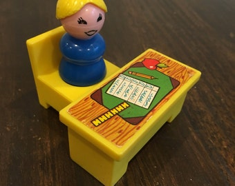 Vintage Fisher Price teacher desk and chair Little People