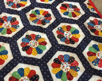 Bright baby toddler blanket patchwork design yarn tied quilted vintage baby quilt