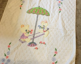 Vintage Baby quilt Hand Embroidered apliqued bears nursery teeter totter design