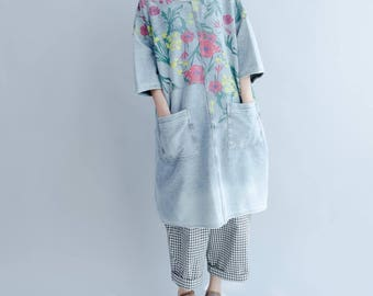 Loose fitting round collar dress cotton long pullover shirt dress