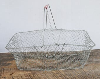 Vintage Wire Mesh Collapsible Take Along Storage Basket with Handles