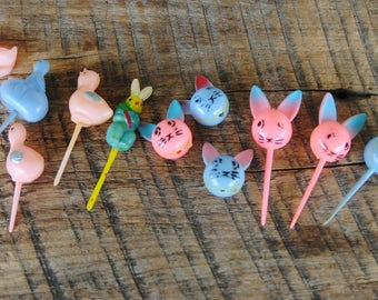 Vintage Easter Cupcake Plastic Picks Bunnies - Chicks