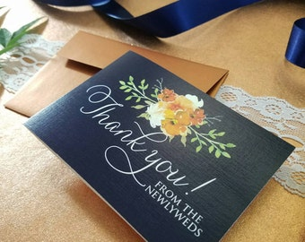 Navy Wedding Thank you Cards - Set of 10 - Personalized cards - Thank you - Wedding - Wedding Cards - Bridal Shower - BlushandBirchPaper