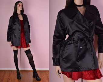 90s Black Satin Trench Coat/ Medium/ 1990s/ Jacket