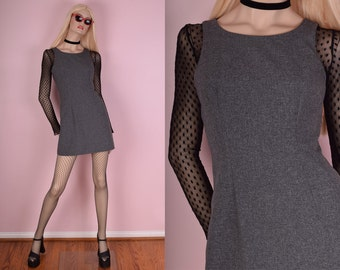 90s Grey Mini Dress/ Small/ 1990s/ Tank/ Sleeveless