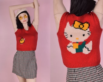 90s Hello Kitty Cropped Sweater Vest/ Small/ 1990s