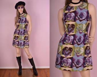 90s Pop Art Floral Print Mini Dress/ US 5/ 1990s/ Tank/ Sleeveless