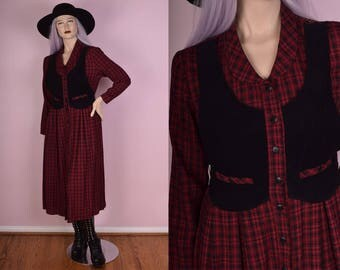 90s Red Plaid Button Down Dress/ US 10/ 1990s/ Long Sleeve