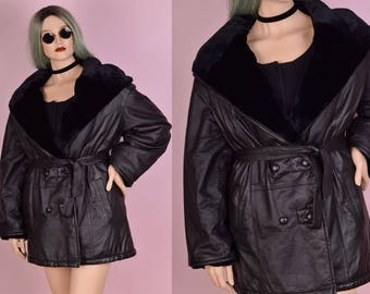 80s Leather Faux Fur Lined Hooded Coat/ XL/ 1980s