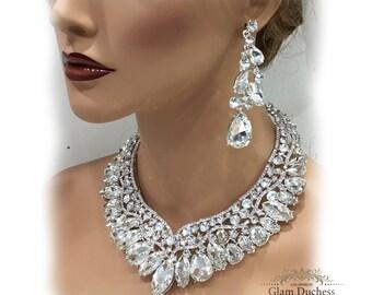 wedding jewelry set, Bridal jewelry set, bridal necklace statement, Ballroom jewelry, Bridal backdrop bib Marquise Crystal necklace earrings