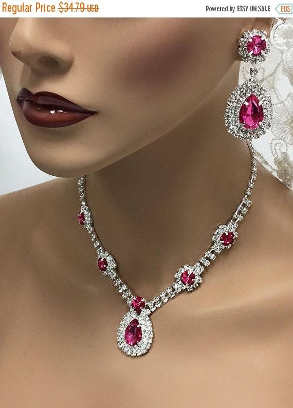 Wedding jewelry set bridesmaid jewelry set bridal by for Pink wedding jewelry sets