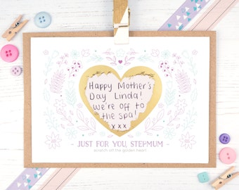 Personalised Stepmother Card - Mother's Day Card - Stepmum Scratch card - Step mum - Step mother - Card for stepmom - Scratch off card